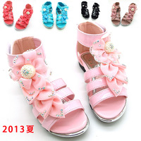 Female child sandals candy color silk flower 2013 princess child sandals girls shoes