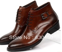 2014 new cool tan mens dress boots Pointed Toe motorcycle boots casual man genuine leather office boots outdoor Free Shipping
