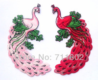 Red & Pink peacock Cloth Patch Sticker, Beautiful Animal Bird Iron on Patch, Cloth Fabric Paste Iron-on patches, DIY Acessories