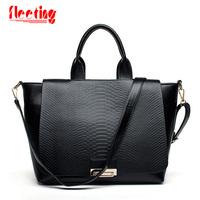 New 2014 Designer Handbags High Quality Fashion Bag Black PU snake skin Women Messenger Bags Vintage Tote Bag Women Handbag