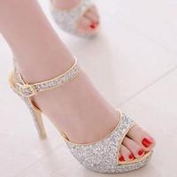 2014 Summer Women Sexy Sliver Stiletto Glitter Platform Peep Toe High Heel Bride Evening Shoes Wedding Ankle Strap Sandals US 9