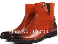 2014 fashion british style tan men winter high boots men motorcycle boots genuine leather mens casual winer boots Free Shipping
