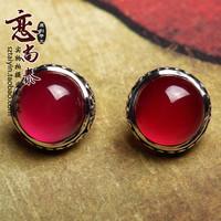 New year 925 pure silver vintage thai silver red corundum in ear red gem stud earring earrings female