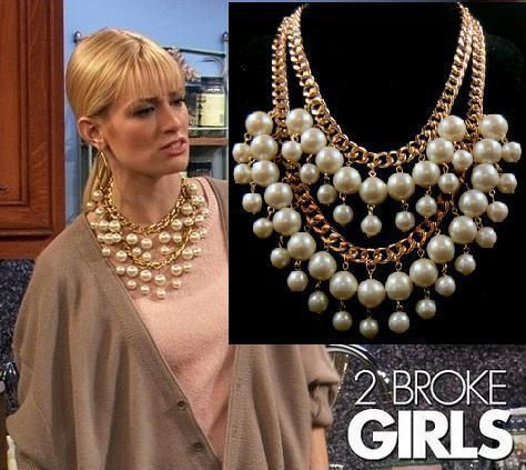 Fashion 2 broke girls big pearl Multilayer beads Chunky statement collar chain Necklaces & Pendants women girls 2014 New Brand(China (Mainland))