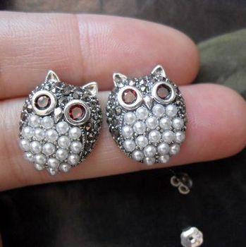 тайского серебра 925 чистого серебра серебра ручной работы природного камня просо черная жемчужина стад серьги камень сова 1.7cm