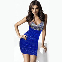 Free shipping brand new 2014 Fashion sequin bling mesh V neck bodycon party club wear summer dress women clothing vestidos