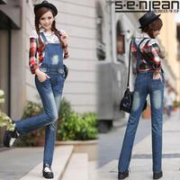 2014 spring jeans female denim bib pants straight loose jumpsuit bib pants trousers