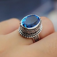 925 pure silver natural blue topaz vintage carved ring a