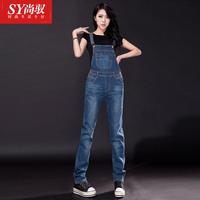 2014 spring preppy style bib pants jeans plus size loose casual frock jumpsuit