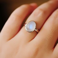 Natural moonstone brief paragraph 925 silver ring silver