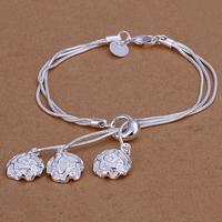 2014 Hot sale H291  Wholesale 925 silver bracelet, 925 silver fashion jewelry rose charm bracelet  best gift