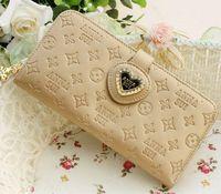 Crystal Diamond Lady Wallet Wallet Women love hearts printed heart-shaped zipper hasp Wallet