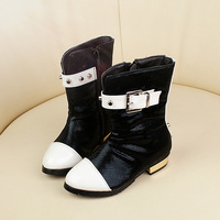 2013 winter child girls shoes japanned leather boots rivet princess high-heeled boots