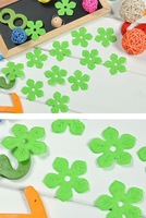 Free Shipping 50 Green Padded Sewing Scrapbooking Craft Flower Velvet Felt Trim Appliques [HB15]