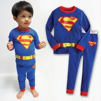 Retail 100% cotton 1set pyjamas cartoon blue superman pajamas for boys children's pijamas kids pajama sets