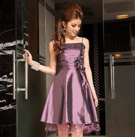 Satin Sexy Party Dresses Short Party Dress with Lace for Girl Women L/XL/XXL/XXXL Size Sapphire/Purple/Black Color Free Shipping