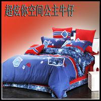 Fashion cotton 100% four piece set bedrug 100% cotton denim four piece set princess bedding 100% cotton color block