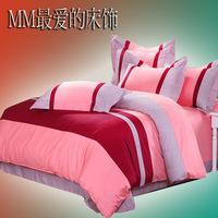 Bedding 100% cotton four piece set 100% cotton classic plaid stripe kit piece set bed sheets