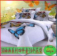 Bedding cotton 100% cotton four piece set 3d three-dimensional oil painting bed sheets duvet cover four piece bedding set