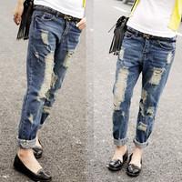 New Arrival 2014 Women ROUGH JEANS boyfriend baggy denim trousers Loose ripped capri Plus Size vintage destroyed Jeans