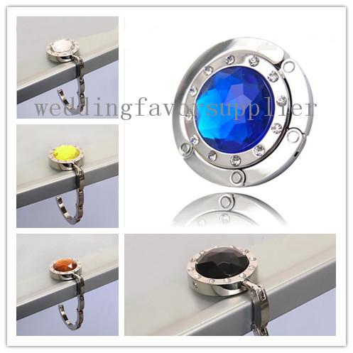 5 pieces/lot Royal Blue Crystal Folding Bag Handbag Purse Hook Hanger Holder(China (Mainland))