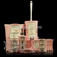 High-class resin bath set lovely pink bathroom set 8 pieces bathroom accessories with tissue box+toilet brush+garbage bin FHJR-8