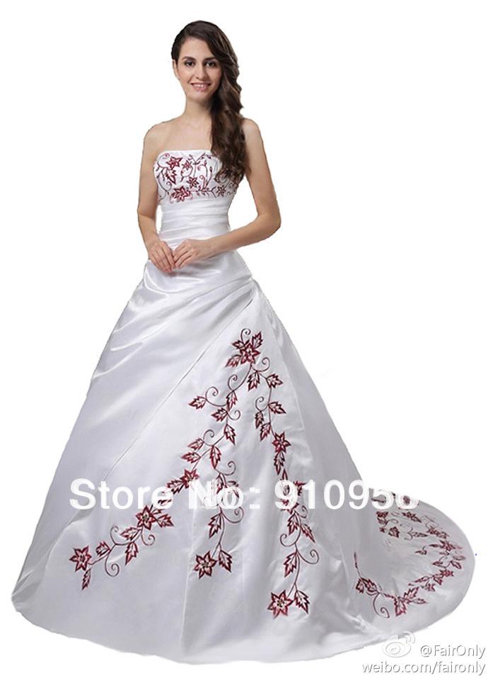 Faironly New Design Elegant White Satin Strapless Red