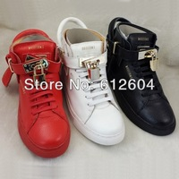 2014 Spring new men full-grain leather sneakers metal lock high-tops sneakers black red and white bescemi sports sneaker shoes