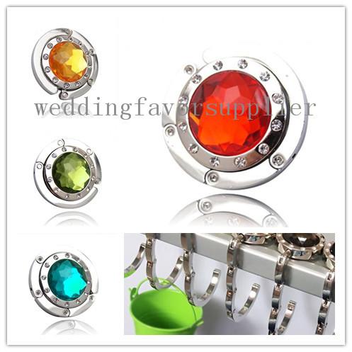 5 pieces/lot RED Crystal Folding Bag Handbag Purse Hook Hanger Holder(China (Mainland))