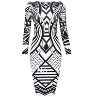 Newest Geomestric Printed Long Sleeve HL Backless Bandage Dress Bodycon Dress Factory Dropshipping good quality best price
