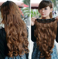 2014 new arrive fashion women's synthetic five clip hair pieces curly hair extension for women 3 colors,free shipping