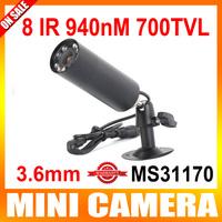 "High Resolution HD Mini Bullet Outdoor Camera Invisible 8 IR 940NM 0 lux Nightvision 1/3"" Sony Effio-E 700TVL CCTV Camera"