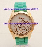 New geneva camellia watch women fashion quartz silicone jelly diamond watch dress rubber crystal ladies watches 50pcs/lot