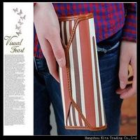 2014 Free shipping Classic women's wallet long design strap buckle stripe wallet women's wallet fancy wallet for girl
