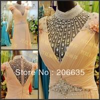 Qualify Girl Prom Dresses New Arrive Bead Chiffon Halter Free Shipping NEWE-0315