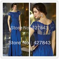 Elegant Bateau Neck Lace Applique Short Sleeves Chiffon Mother of the Bride Dresses 2014 Evening Gown For Women