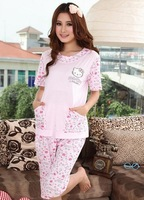 Free Shipping Hot Sale Knitted Cotton Hello Kitty Cartoon Sweet Soft Women Pajamas Sleepwear Set Blouse+Pants Shorts M/L/XL Size