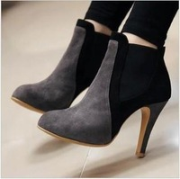2014 new U.S. and European beauty  super color block  suede stiletto shoes high heels women pumps boots