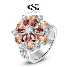G&S Valentine's day Gift swiss CZ Platinum plating luxury champagne ring arrow heart cuting Full set jewelry 1010015830(China (Mainland))