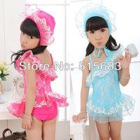 Retail New Style 2014Free shipping-Girls flower Swimwear Tankini Beachwear Bikini Swimsuit  2-8Y Bathing Sunsuit Swim Toddler