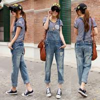 2013 Iotion juniors clothing hole jeans bib pants plus size jumpsuit