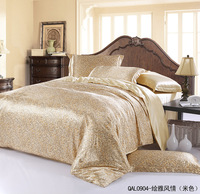 New arrival Hot sale 4pcs Silk feel BRAND Printed White Bedding set Quilt cover Duvet cover set Queen King