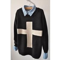 women's preppy style cross sweater loose o-neck long-sleeve sweater basic shirt outerwear