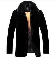 Genuine Leather Gold Velvet Liner Men medium-long nick Fur coat Winter Jacket Man