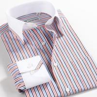 Autumn-Summer 100% cotton business casual Men stripe Logn Sleeve shirt