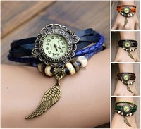 Promotion!10PCS/LOT Women's Fashion Quartz Wristwatch Dragonfly Weave Wrap Synthetic Leather Strap Bracelet Wrist Watch 18207