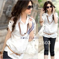 New 2014 Trendy Womens Hot Sale Solid Short Sleeve OL Blouse Button Long Shirt With Belt Drop shipping 20015