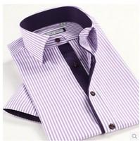 Short Sleeve Men's Casual Business Strip Cotton Summer Man Shirt