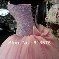 Princess Sweetheart Beaded Bodice Corset Bodice Pink Ball Gowns Wedding Dress 2014