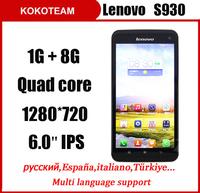 Original Lenovo S930 6.0'' IPS screen 8MP Camera 1280*720px smart phone 1G RAM 8G ROM MTK6582 Quad Core Mobile Phone